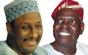 PDP National Chairman, Adamu Mu'azu and APC National Chairman, Bisi Akande